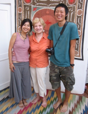 Donna with fellow travellers in Uzbekistan
